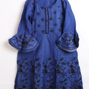 Beautiful Embroidery Linen stitched frock shirts for women 1009-2