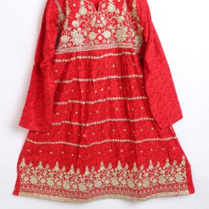 Trendy Embroidered Linen stitched Frock for women latest winter collection 1011-2