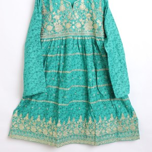 Trendy Embroidered Linen stitched Frock for women latest winter collection 1011-4