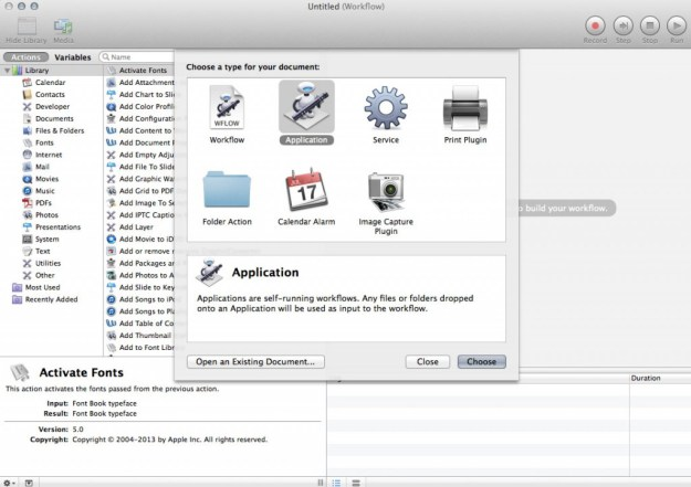 Automator launch screen