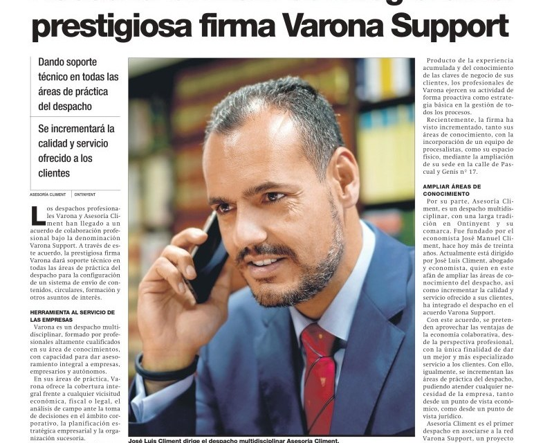 ASESORÍA CLIMENT SE INTEGRA EN VARONA SUPPORT