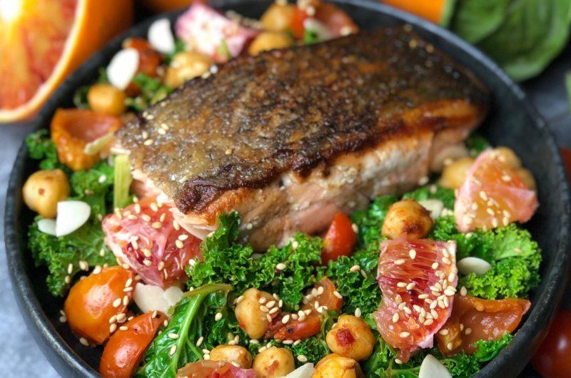 Za'atar Salmon and Blood Orange Kale Salad