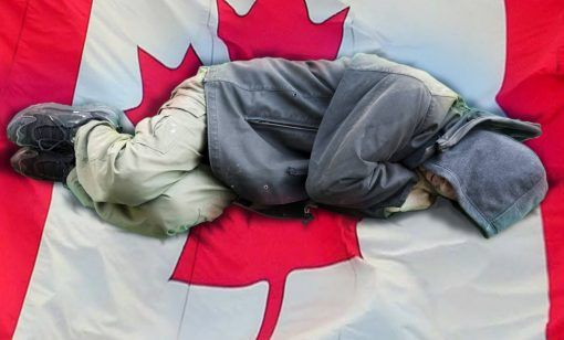 sleeping-on-canadian-flag