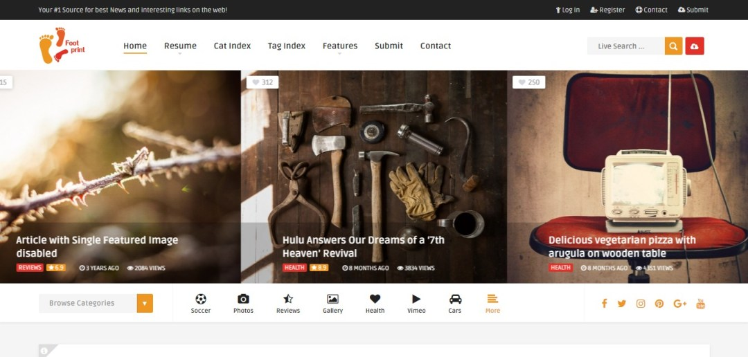 Foot theme for content sharing sites
