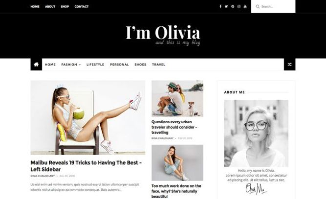 Olivia Dark Blogger Template