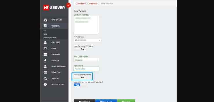 adding new website with wordpress