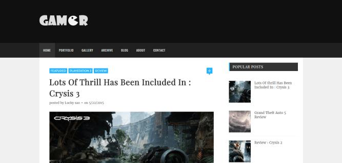 Gamer blogger template