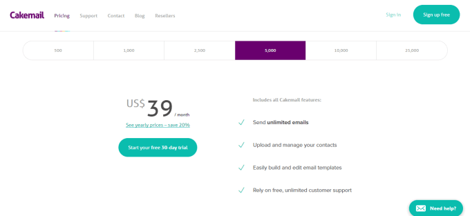 Pricing Email marketing tools for small business Cakemail