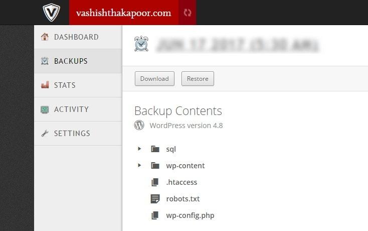 backup content in vaultpress