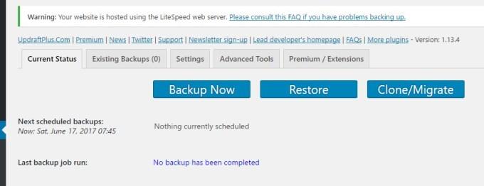 start backup updraft plus