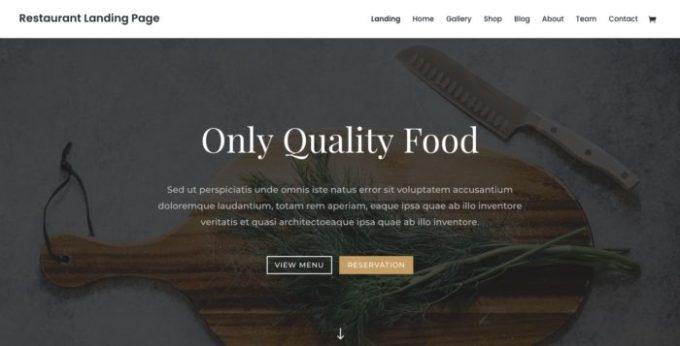 divi theme Restaurant landing page