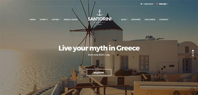 Hotel Santorini wordpress theme