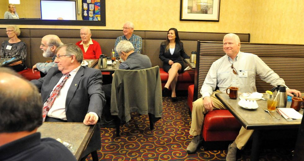 Members listening to Dr. V.A. Shiva Ayyadurai at the luncheon meeting of Rotary Club of Acton-Boxborough