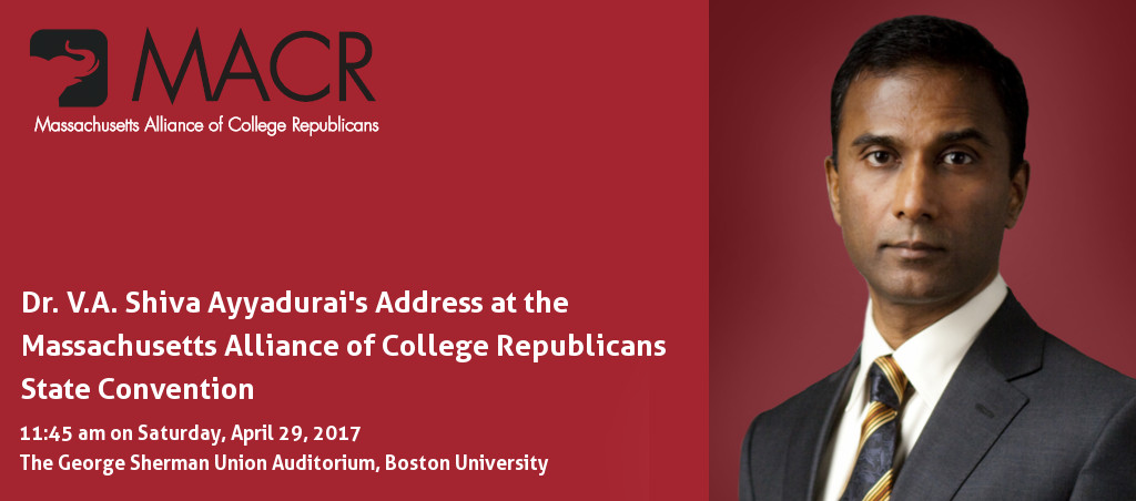 Dr. V.A. Shiva Ayyadurai To Speak At The Massachusetts Alliance Of College Republicans State Convention