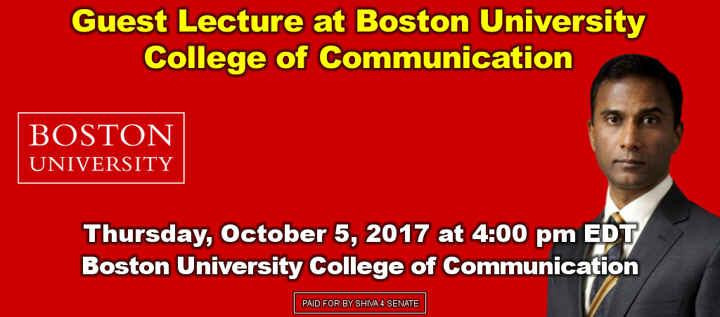 Dr. Shiva Ayyadurai Delivers Guest Lecture At Boston University College Of Communication