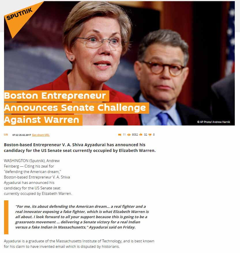 Boston Entrepreneur Announces Senate Challenge Against Warren