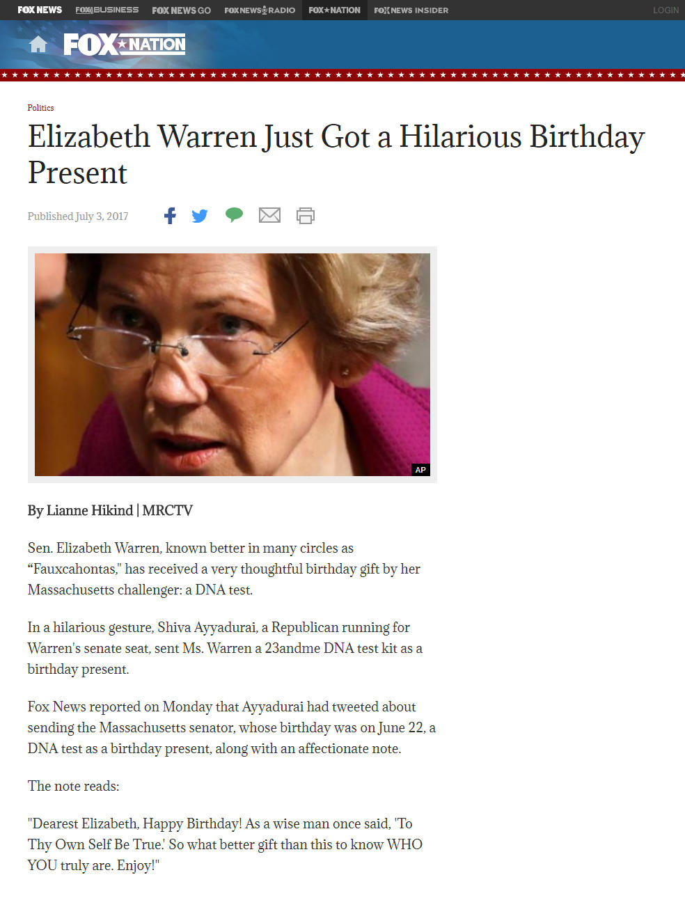 Elizabeth Warren Just Got A Hilarious Birthday Present