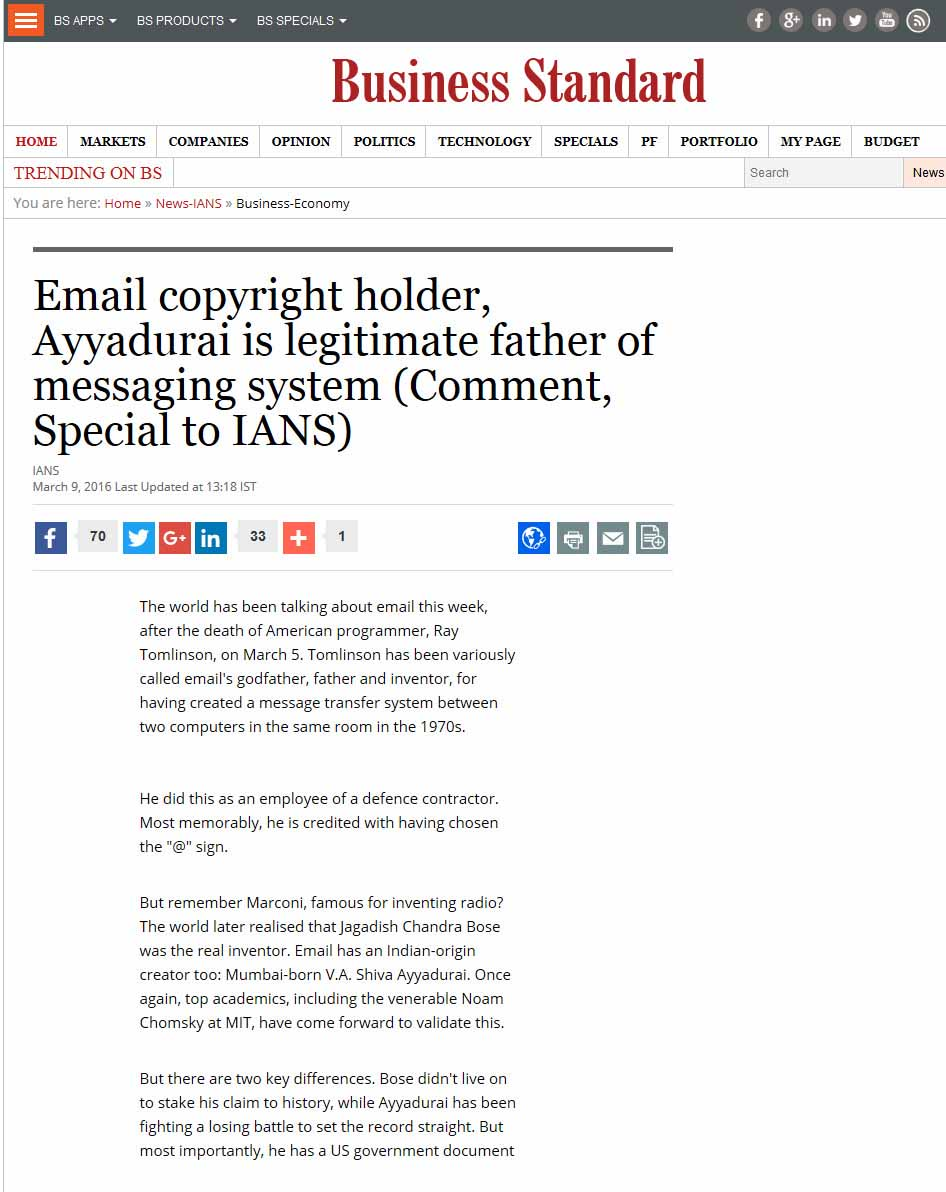 Email Copyright Holder, Ayyadurai Is Legitimate Father Of Messaging System