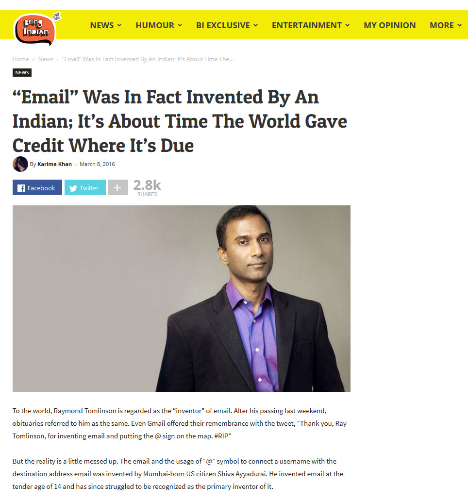 """""""Email"""" Was In Fact Invented By An Indian; It's About Time The World Gave Credit Where It's Due"""