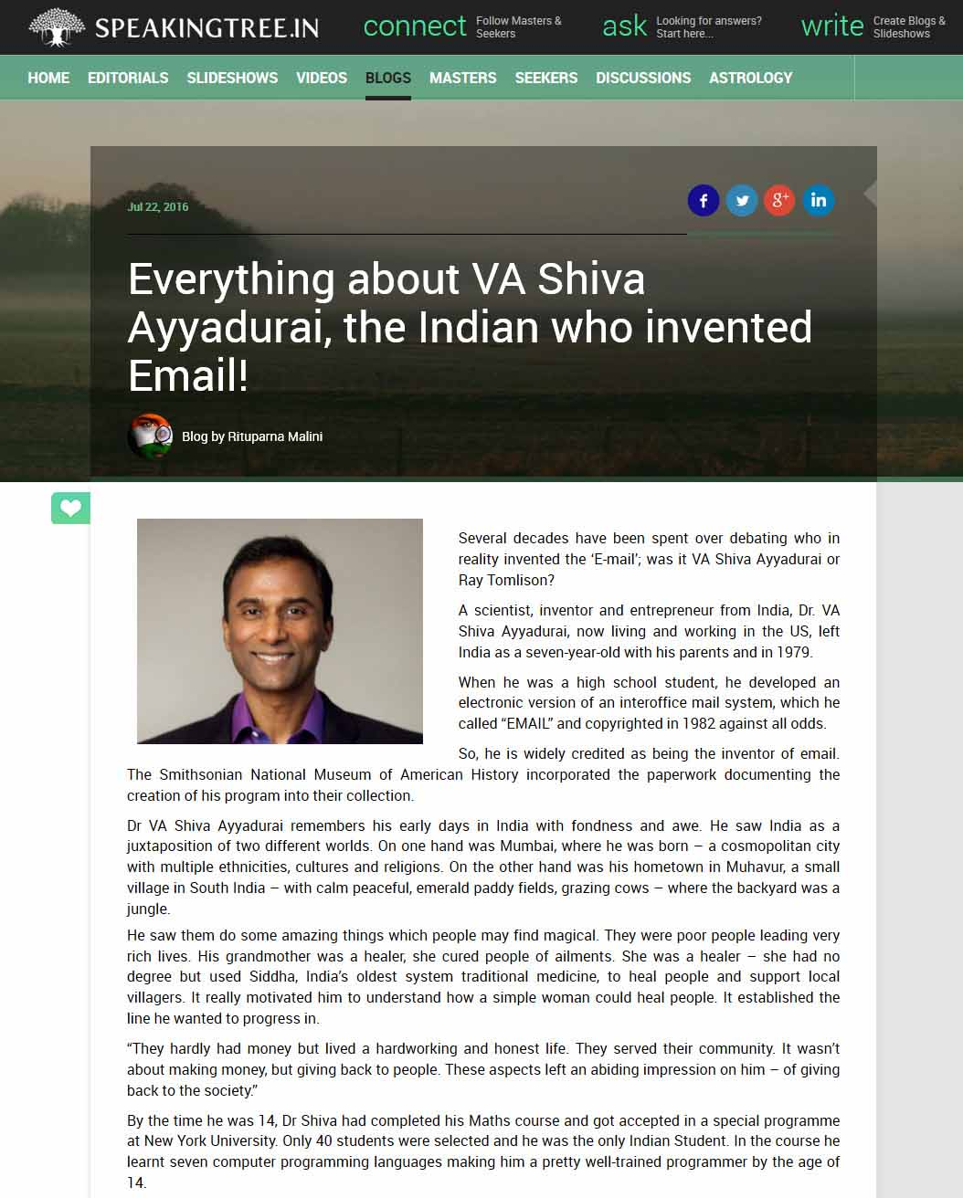 Everything About VA Shiva Ayyadurai, The Indian Who Invented Email!