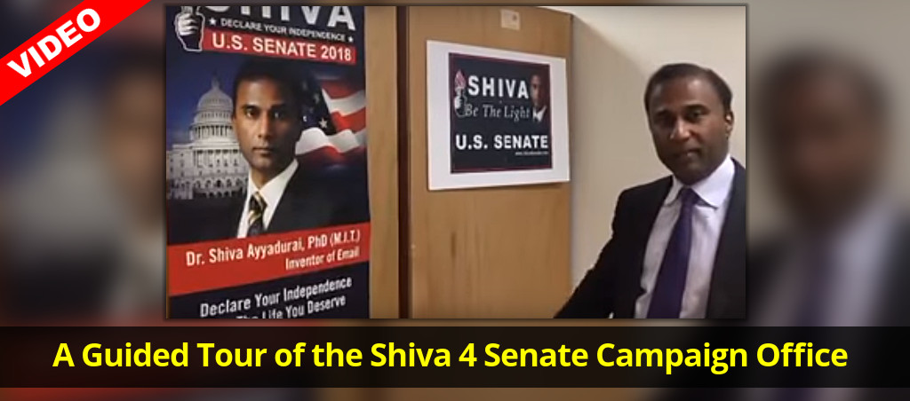 Dr. Shiva Ayyadurai Gives A Guided Tour Of The Shiva 4 Senate Campaign Office