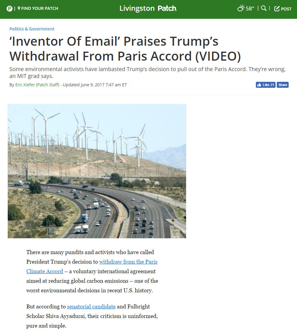 'Inventor Of Email' Praises Trump's Withdrawal From Paris Accord