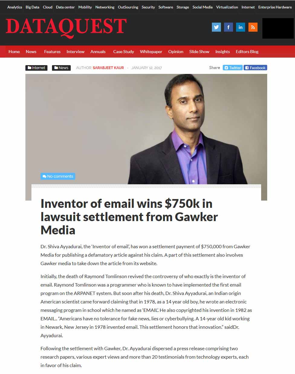 Inventor Of Email Wins $750k In Lawsuit Settlement From Gawker Media