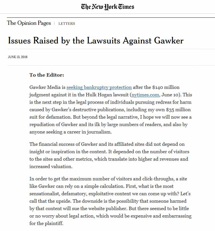 Issues Raised By The Lawsuits Against Gawker