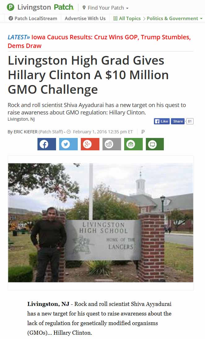 Livingston High Grad Gives Hillary Clinton A $10 Million GMO Challenge