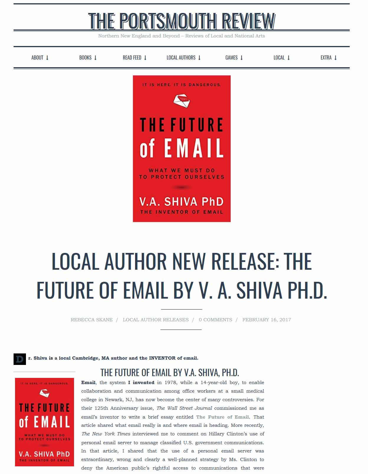 Local Author New Release: The Future Of Email By V. A. Shiva Ph.D.