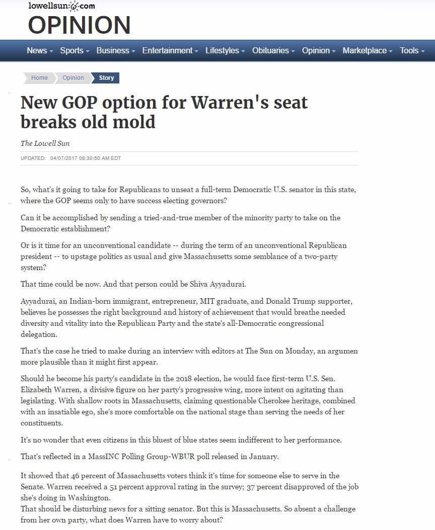 New GOP Option For Warren's Seat Breaks Old Mold