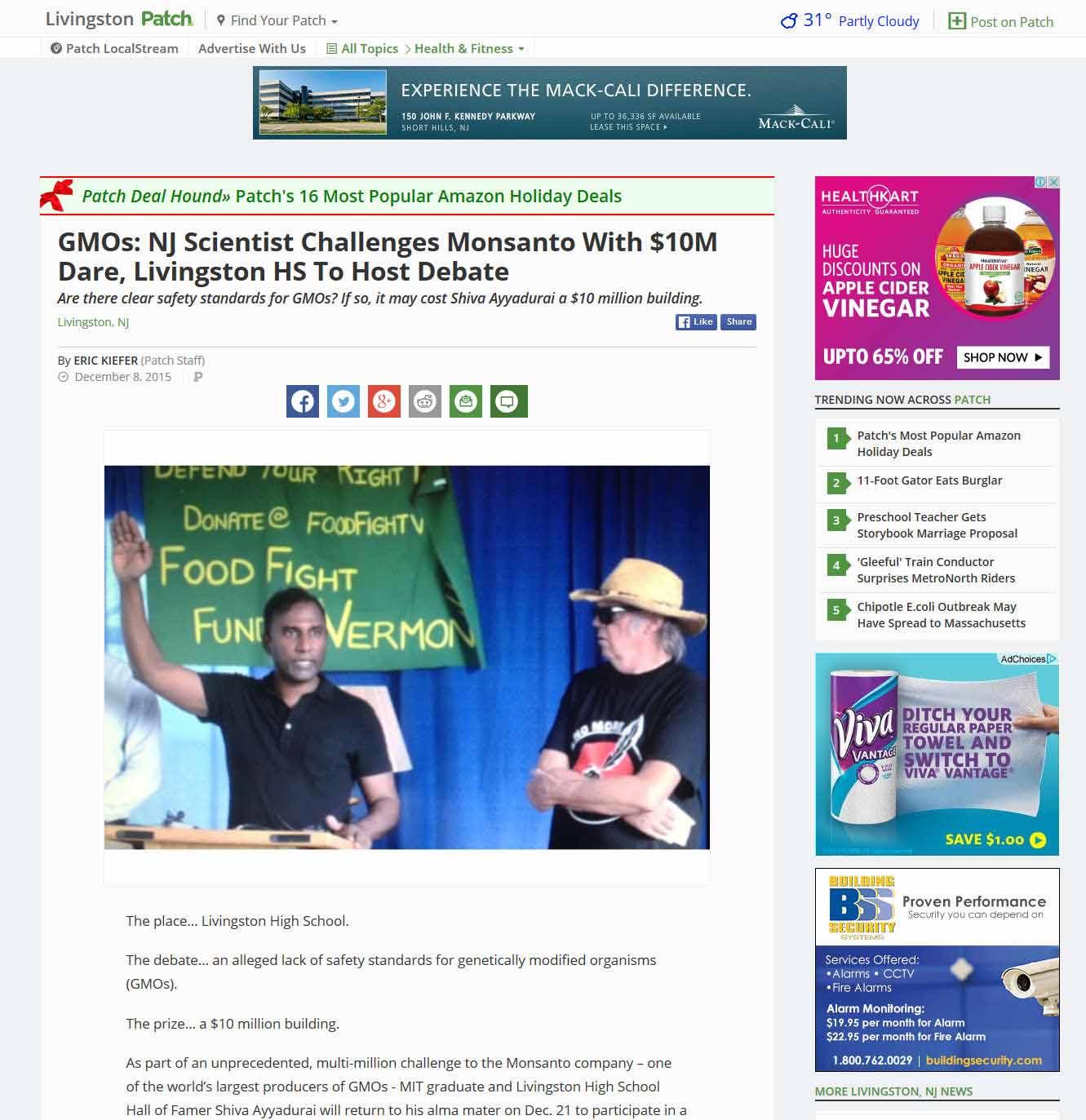 GMOs: NJ Scientist Challenges Monsanto With $10M Dare, Livingston HS To Host Debate