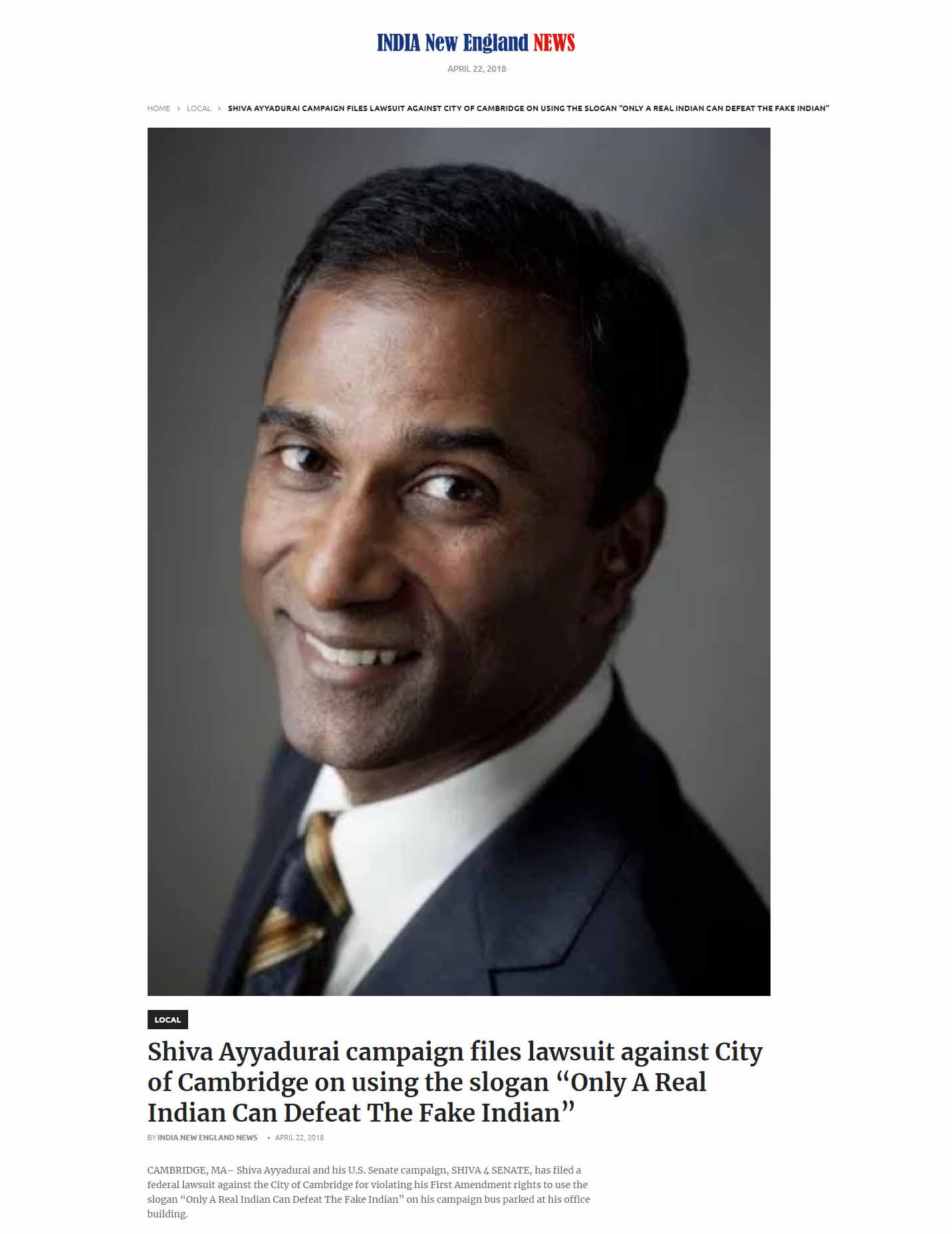 """Shiva Ayyadurai Campaign Files Lawsuit Against City Of Cambridge On Using The Slogan """"Only A Real Indian Can Defeat The Fake Indian"""""""