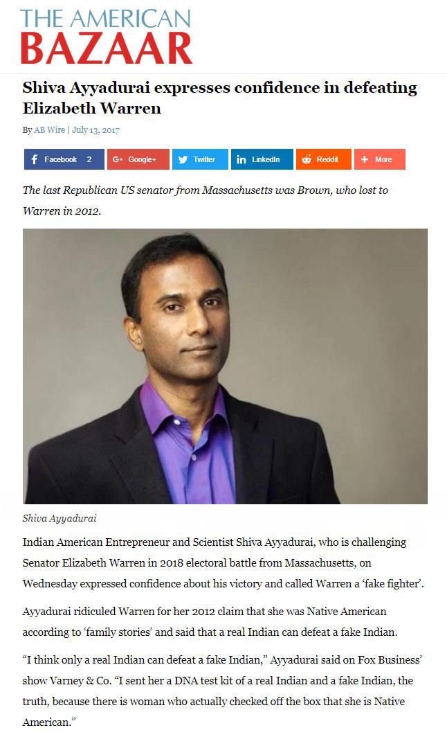 Shiva Ayyadurai Expresses Confidence In Defeating Elizabeth Warren