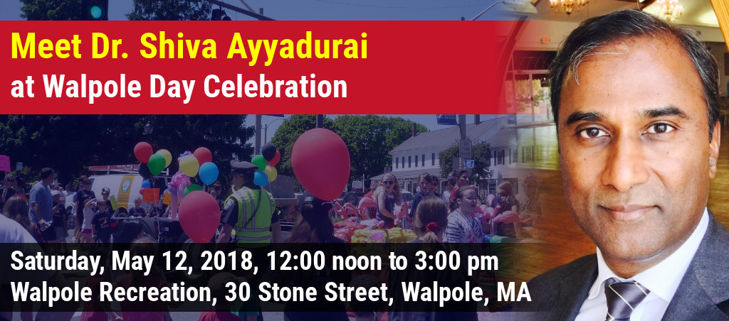Meet Dr. Shiva Ayyadurai At Walpole Day Celebration In Walpole, MA
