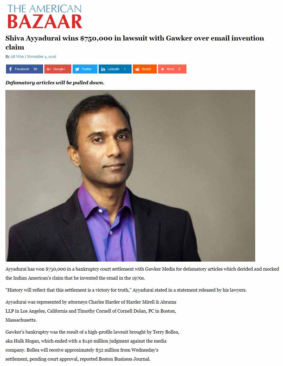 Shiva Ayyadurai Wins $750,000 In Lawsuit With Gawker Over Email Invention Claim