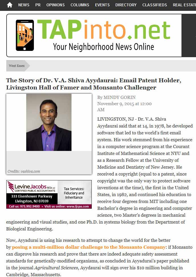The Story Of Dr. V.A. Shiva Ayyadurai: Email Patent Holder, Livingston Hall Of Famer And Monsanto Challenger