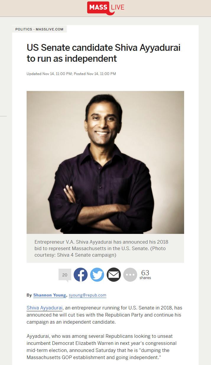 US Senate Candidate Shiva Ayyadurai To Run As Independent
