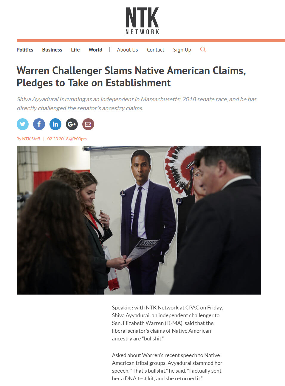 Warren Challenger Slams Native American Claims, Pledges To Take On Establishment
