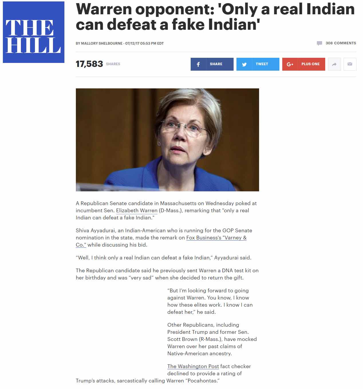 Warren Opponent: 'Only A Real Indian Can Defeat A Fake Indian'