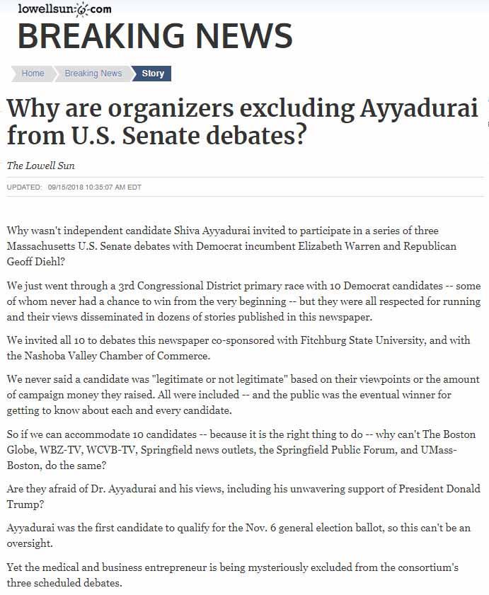 Why Are Organizers Excluding Ayyadurai From U.S. Senate Debates?