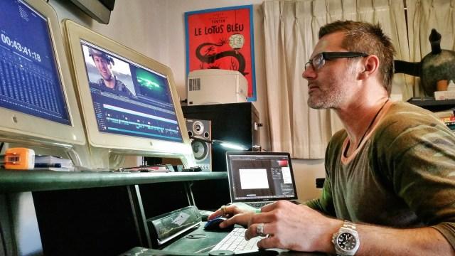 Vashi editing the documentary