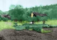 Kolorerad bild av stenvillan och Trädgårdsmästarvillan i Henriksdal på 1960-talet