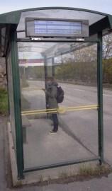 Digitala busskylten nedanför Finnberget