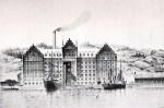 Saltsjöqvarn med skornsten och obebyggda Henriksdalsberget