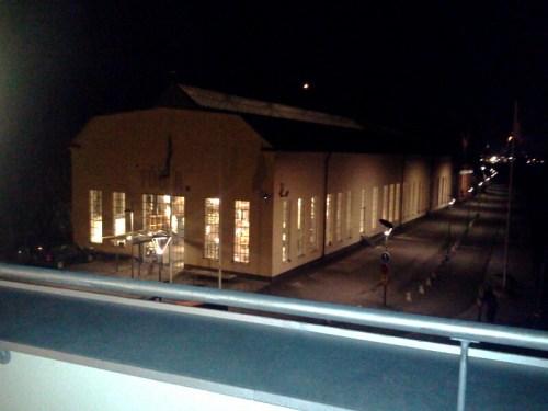 Blick från FB Seas terrass mot möbelbutiken Fogia i Finnboda