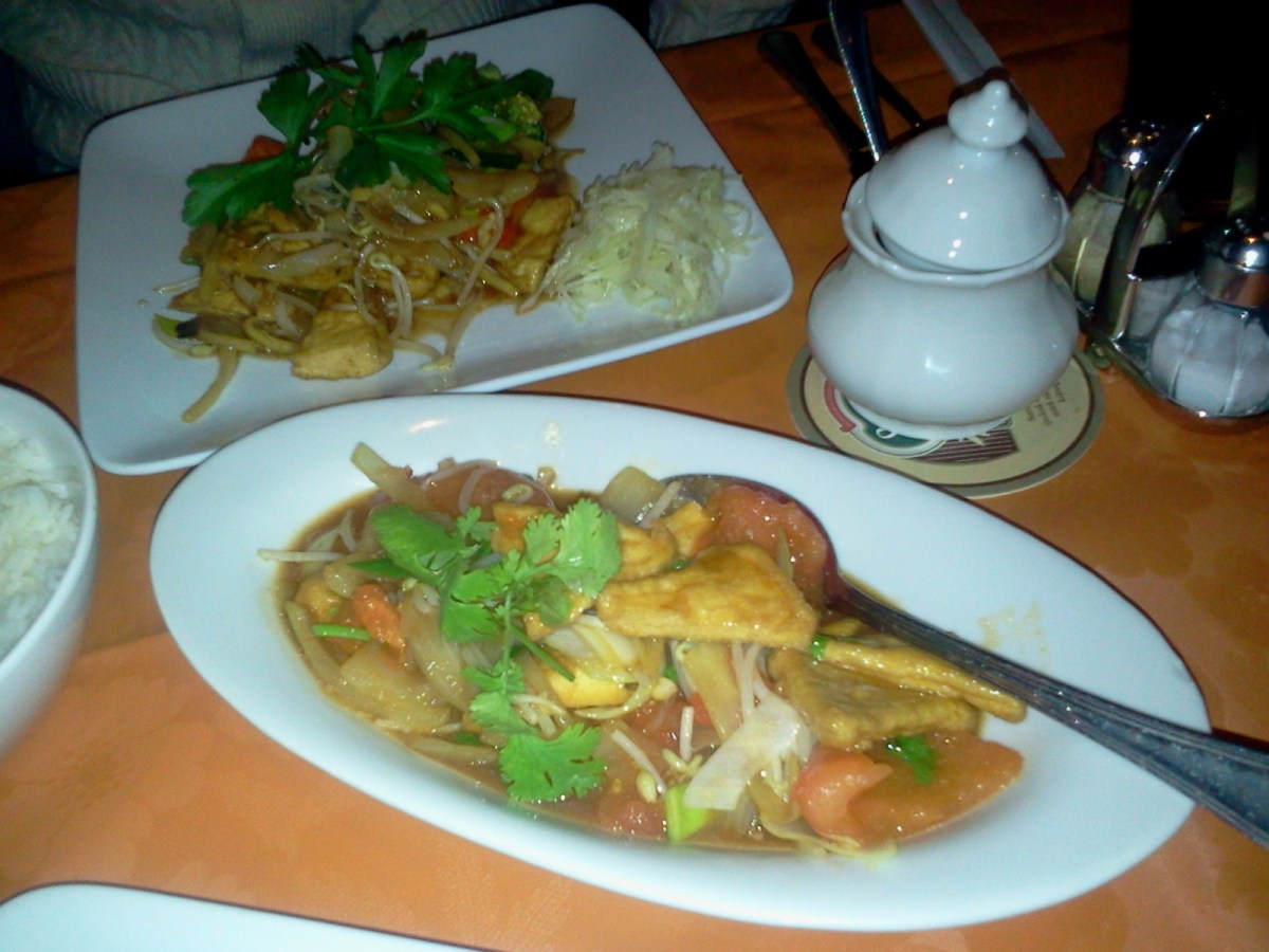 Tofurätter med ris på kinakrogen Saigon city på Henriksdalsberget