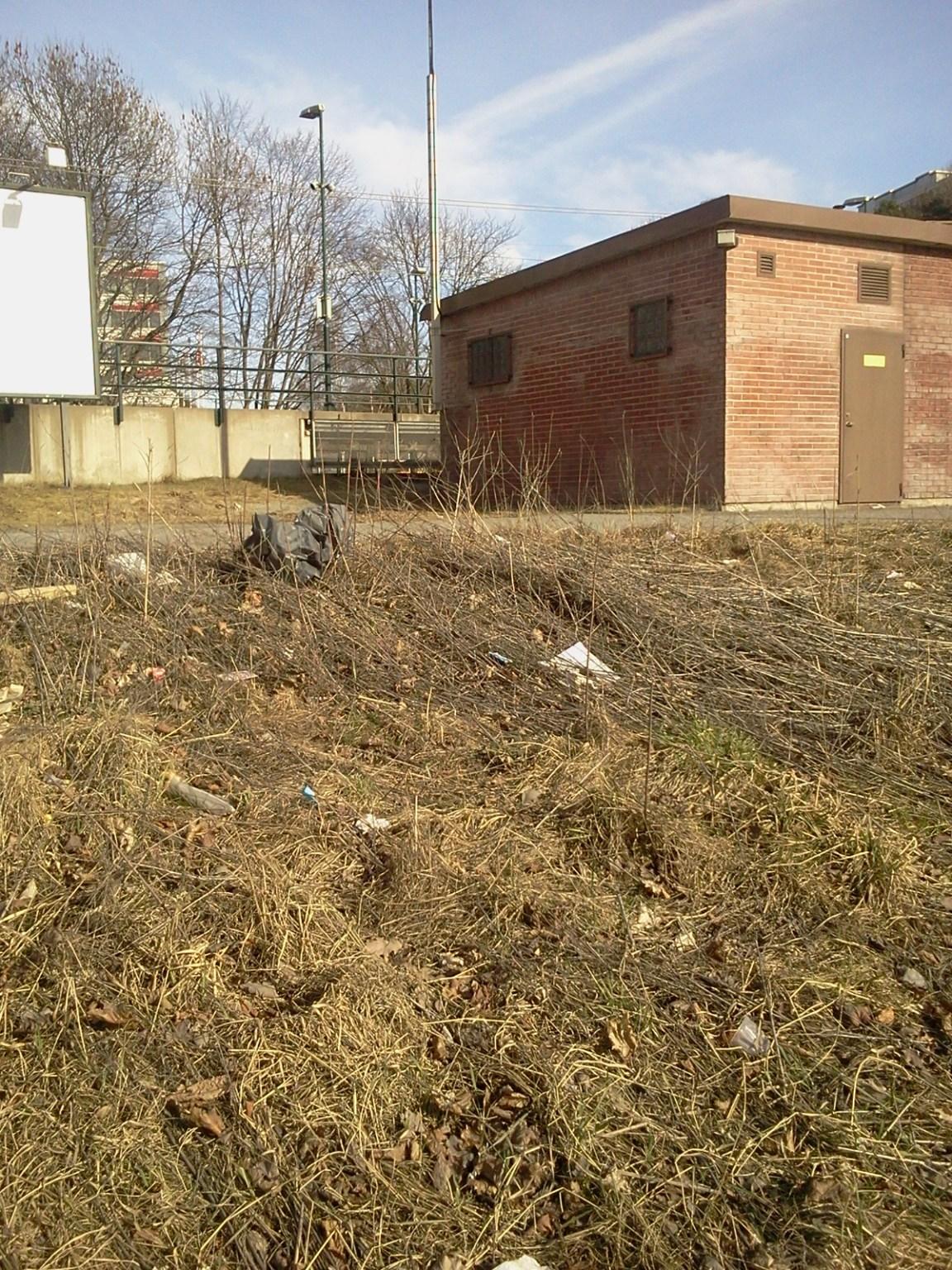 Avfall och övergiven grönyta vid Henriksdal station