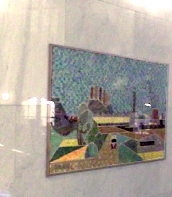 mosaiktavla i trapphus på Bondegatan visar Danviksklippan