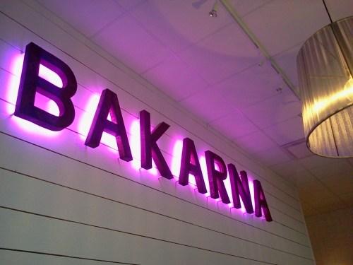 Bakarnas logga på kafeets vägg